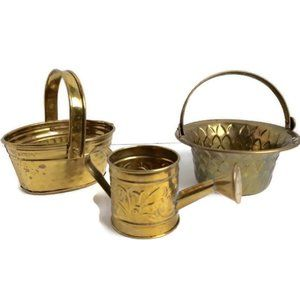 Vintage Brass Baskets Watering Can Hosley India